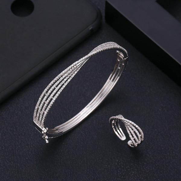 Jankelly luxo Bowknot Bangle Ring Sets Moda Dubai prata nupcial conjuntos de jóias para mulheres brincos de casamento para as mulheres