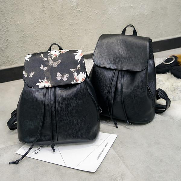 Blumenmuster Frauen Rucksack String Designer Weiche PU Leder Damen Schultertasche Weibliche Rucksäcke Taschen Reise Softback Mochila # 283089