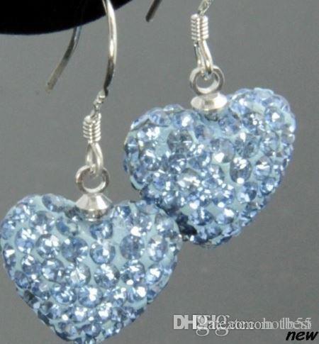 Free Shipping hotsale new Rhinestone Mix Colors white disco Ball beads clay heart drop Dangle crystall Crystal Earrings Stud p6442 w62 x82