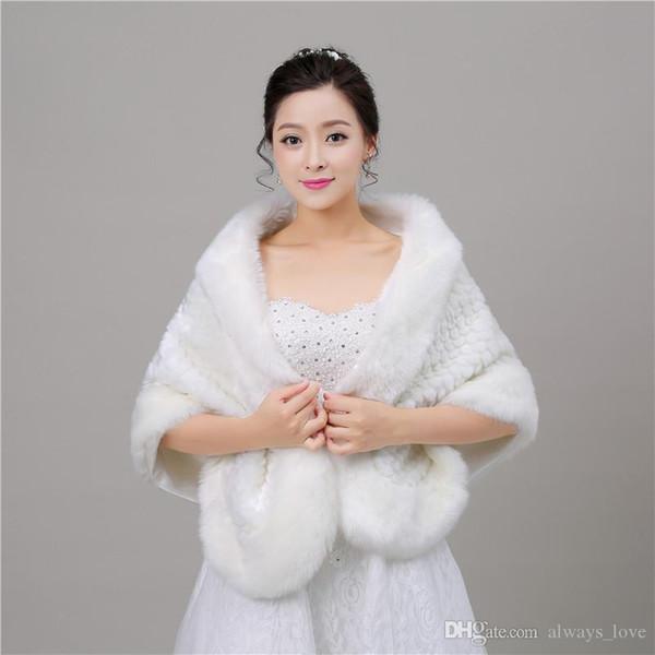 2019 Cheap Winter Faux Fur Bridal Wedding Wrap Cape Shawl Jackets Coat Bolero Tippet Stole for Wedding Party PJ074