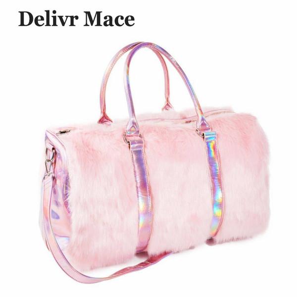 Grands sacs fourre-tout pour les femmes 2018 en peluche rose sac de voyage mignon sacs à bandoulière pour dames sacs à main grande femme sac fourre-tout sac pour femmeMX190824