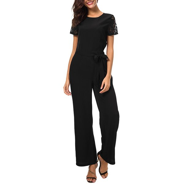 DSQUAENHD Office Lady Bandage Jumpsuit for Women Lace Patchwork Short Sleeve Bodysuits Sexy Backless Tops Playsuits 2019 Summer