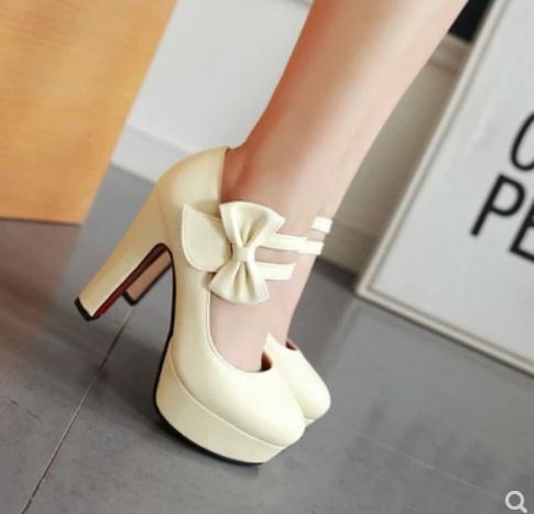 2019 бантом женская обувь весной и осенью с новым стилем высокий каблук грубый каблук круглая голова водонепроницаемый стол @ 203