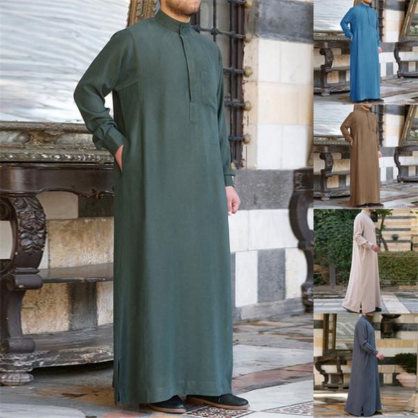 Más el tamaño de vestido musulmán thobe 2019 Abaya árabe Pakistán Batas Kaftan Arabia Saudita ropa islámica hombres Jubba Dubai Kurta ropa