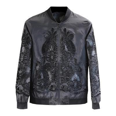 luxury mens black baroque applique European flower pattern tuxedo jacket/stage/dance performance jaceket