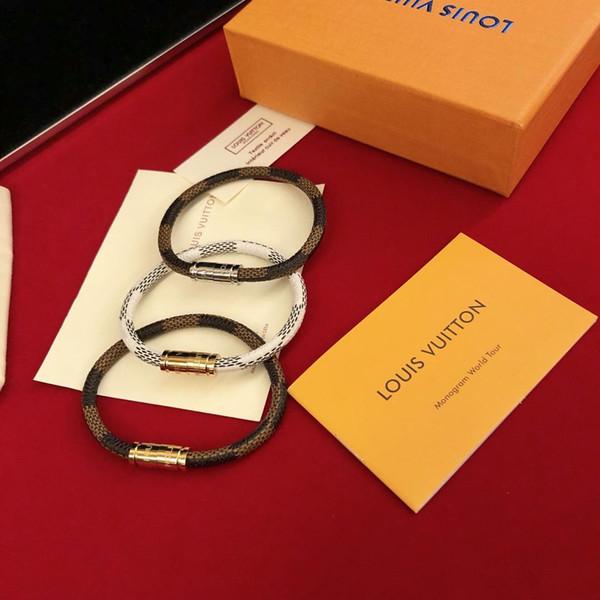 Designer Bracelet Men's and Women's Leather Bracelet 2019 Luxury Fashion Accessories Old Flower Leather Bracelet Earrings Necklace Vintage F