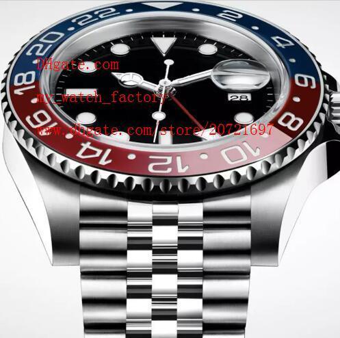 Reloj de lujo de alta calidad + caja original 40 mm GMT 126710 126710BLRO Rojo azul Jubilee pulsera Asia 2813 movimiento automático Relojes para hombre