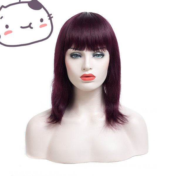 Glueless unprocessed virgin remy human hair medium bangs #1bt99j silky straight full/front lace top cap wig cheap for white women