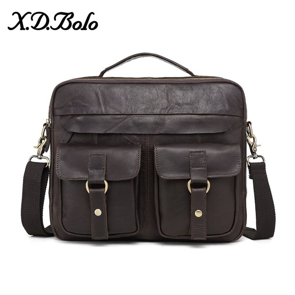 X.D.BOLO Men's Briefcase Bags Genuine Leather Men Messenger Bag 14 Inch Laptop Handbag Notebook Shoulder Bags for Men