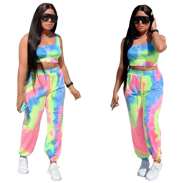 prints one shoulder wide legs two-piece sets ladies designcostume dresses for womens ladies designcostume