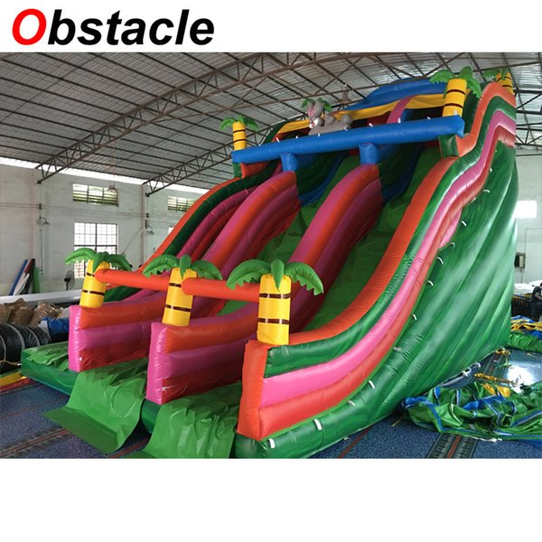 2019 9mL*6mW Jungle Theme Giant Two Lane Inflatable Wave Slide Inflatable  Water Slide With Free Blower For Commercial Inflatable Park From Vancen,
