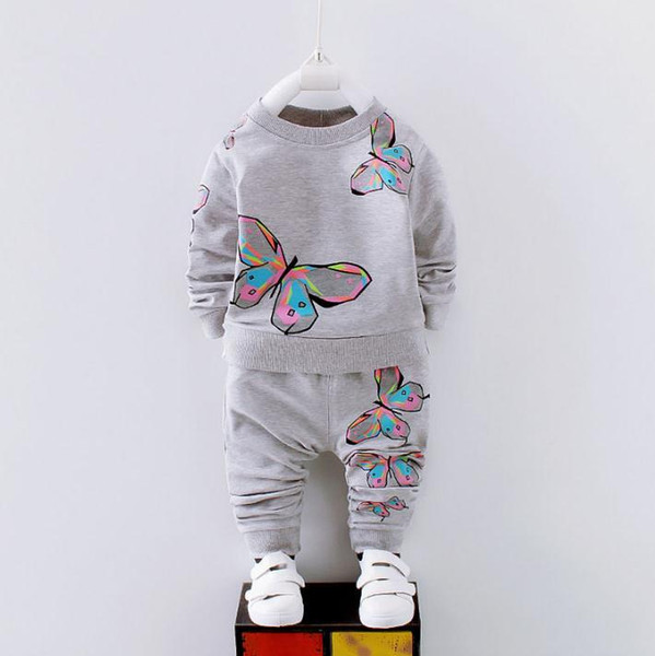 2019 new Baby Girls Clothes Set Butterfly T-shirt Top +Pants Kids Spring Autumn Clothing Sets Children Outfits suit