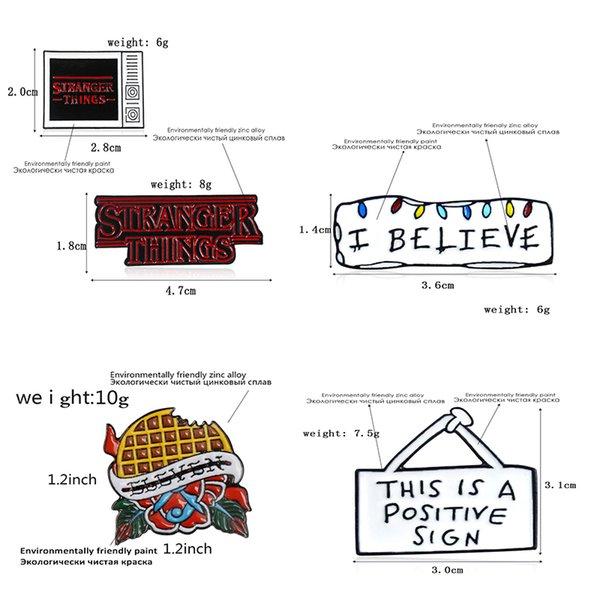 Броши 5Styles Слова Эмаль Pin TV Незнакомец Вещь Я считаю позитивный знак Брошь Джинсовая Джинсовая Сумка Сумка Поощряйте подарок для друзей