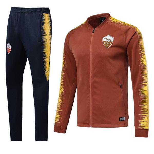 NEW Roma tracksuit soccer jacket set Chaqueta de fútebol 18 19 TRACKSUIT TOTTI ROSSI DZIKO NAINGGOLAN football jacket FULL ZIPPER SET