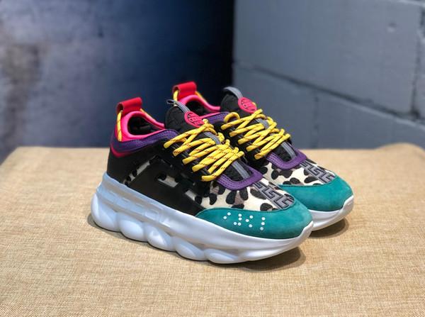 2019 Chain Reaction Luxury Designer Shoes Men Women Sneakers Snow Leopard Blue Mesh Rubber Leather fashion women shoes Casual
