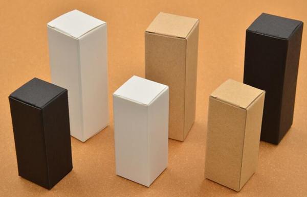 10ml20ml 30ml 50ml 10ml blanco negro cajas de papel kraft para botellas de aceite esencial gotero botella caja de embalaje de regalo regalo impresión logo