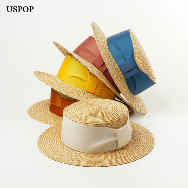 USPOP 2019 New arrival Summer hats for women fashion velvet ribbon straw hat natural wheat straw wide brim sun hat beach