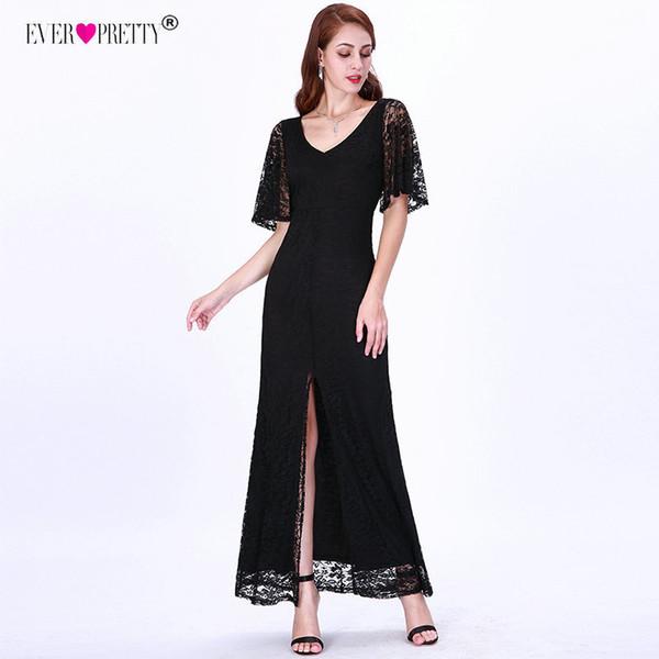 Elegante Sereia Vestidos de Noite Longo Muito Sexy Com Decote Em V Dividir Flare Manga Preta Laço Vestido Formal Das Mulheres T190606