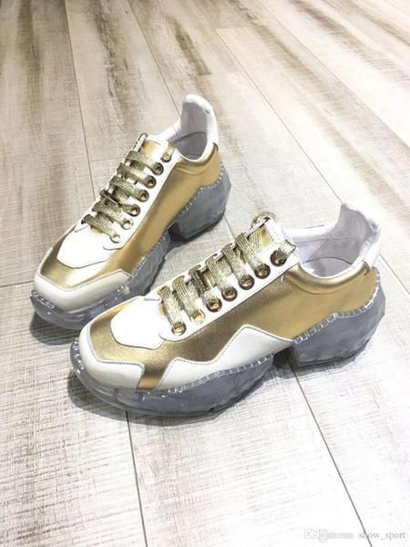 Diamond Sneakers Luxury Diamond Shoes Мужчины Женщины Повседневная обувь Топ Мода Luxury Shoes Джимми KC Choo Кожаные кроссовки Оптовая 7rdg