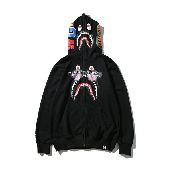Toptan 2019 tasarımcı sonbahar ve kış yeni dış ticaret gelgit marka baskı erkek kapüşonlu rahat artı kadife kazak ceket
