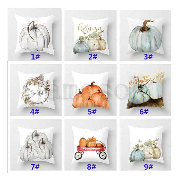 Kürbis Gedruckt Kissenbezug Halloween Weihnachten Dekoration Baumwollmischung Kissenbezug Home Sofa Auto Decor Ohne Core11 Styles dc625