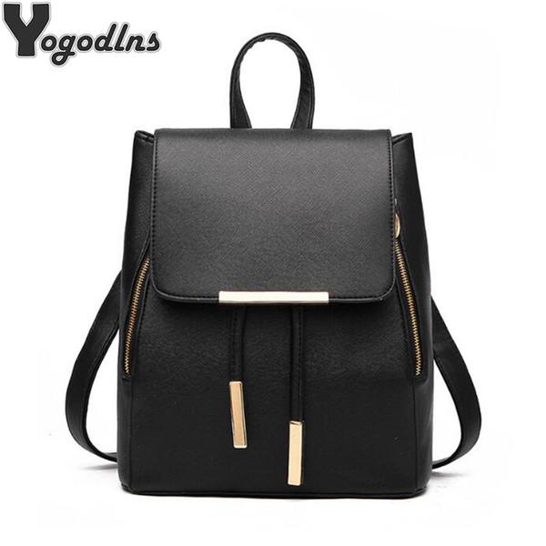 New Arrival School Backpack For Women Pu Leather Shoulder Bag Female Student Book Bag Casual Travel Knapsack Girls Rucksack j190525