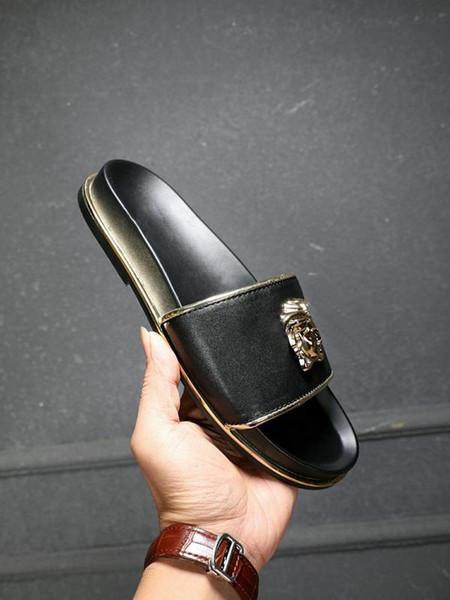 2019 Medusa Head Slides With Embossed Rubberised Slip-On Rubber Pvc Sandals Slippers Home Slippers Men S Slippers Baboosh 7