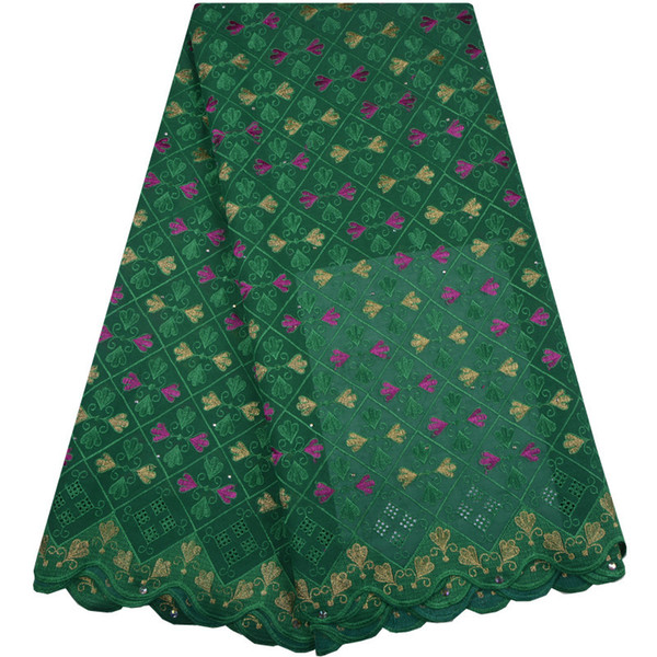 2018 Latest High Quality Swiss Voile Lace Fabric Green Cotton Lace Fabric African Dry Lace Fabric With Stones 1318