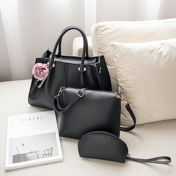 2019 neue Damenmode Handtasche 3 Stücke Set Umhängetasche Fellknäuel Crossbody Messenger Bags PU Solid Composite Taschen