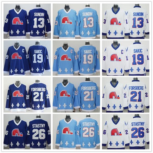 Quebec Nordiques Trikots Eishockey 13 Mats Sundin 21 Peter Forsberg 26 Peter Stastny 19 Joe Sakic Trikot Team Farbe Marineblau Weiß