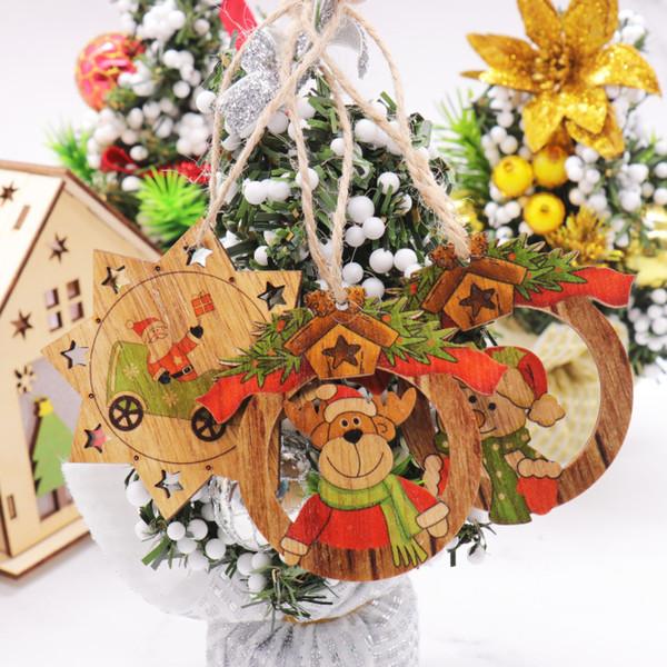 pcs Wooden Pendants Santa Claus&;Snowman&;Elks Tree Ornaments Decorations for Home 1pcs Christmas Wooden Pendants Santa Claus&Sno...