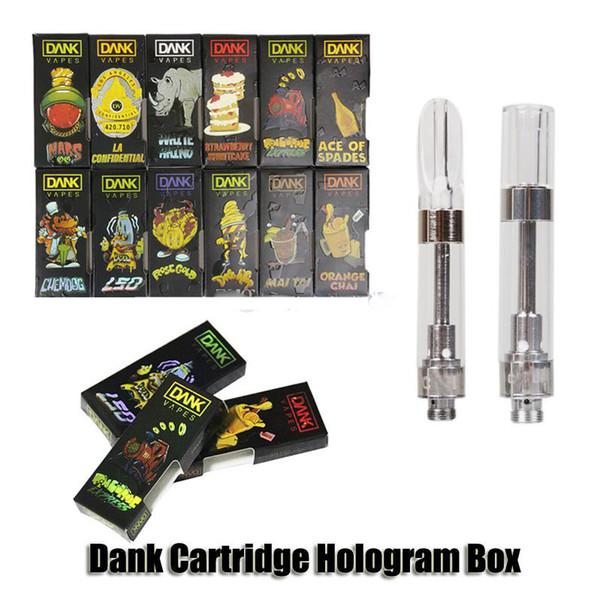 Hologram Dank Vapes Cartouche Hologram 3D Fenêtre Côté Boîte Chariots G5 Vis Holographique 0.8ml 1.0ml Céramique Bobine 510 Vaporisateurs De Réservoir D'huile Épaisse