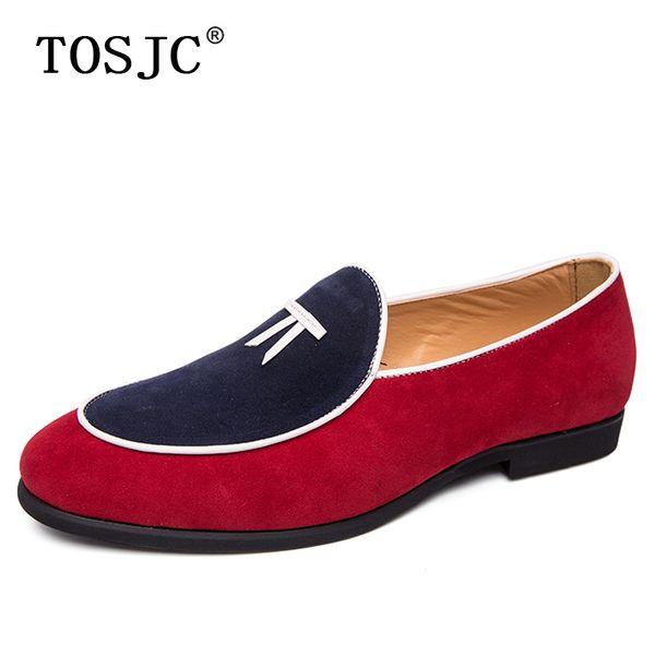 TOSJC Mocassini scamosciati da uomo estivi Scarpe eleganti scivolose traspiranti eleganti Scarpe eleganti da cerimonia per uomo alla guida