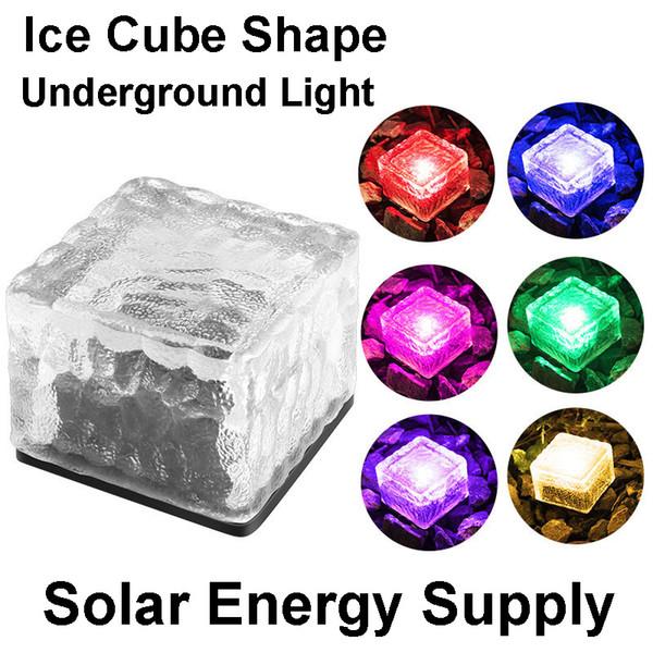 Luz LED Sqaure Ice Cube Luzes Solar tijolo paver paisagem luzes solares subterrâneas Luzes Caminho tijolo de vidro fosco impermeável