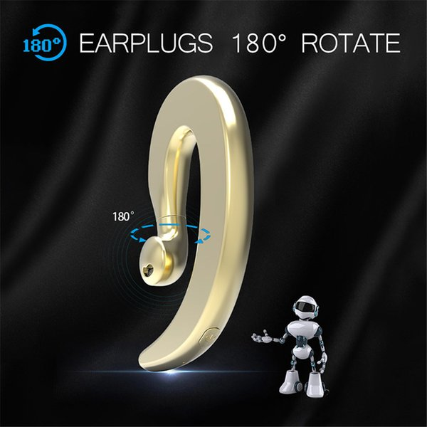 Bluetooth 4.2 Headset 180 Degree Rotation Bone Conduction Wireless Headphone with Mic Single Ear Hook Headset Earbud for iPhone Android