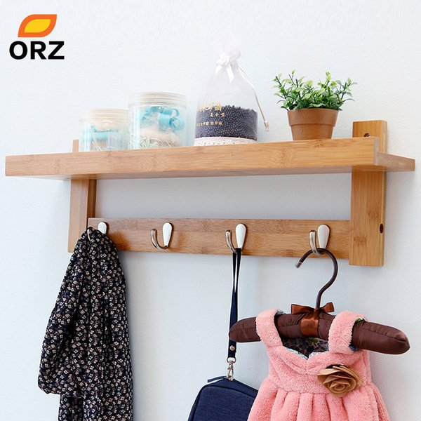2019 ORZ Bamboo Wall Shelf Coat Hook Rack With 4 Alloy Hooks Bedroom  Kitchen Bathroom Storage Organizer Holder Home Decoration From Sophine09,  $61.15 ...