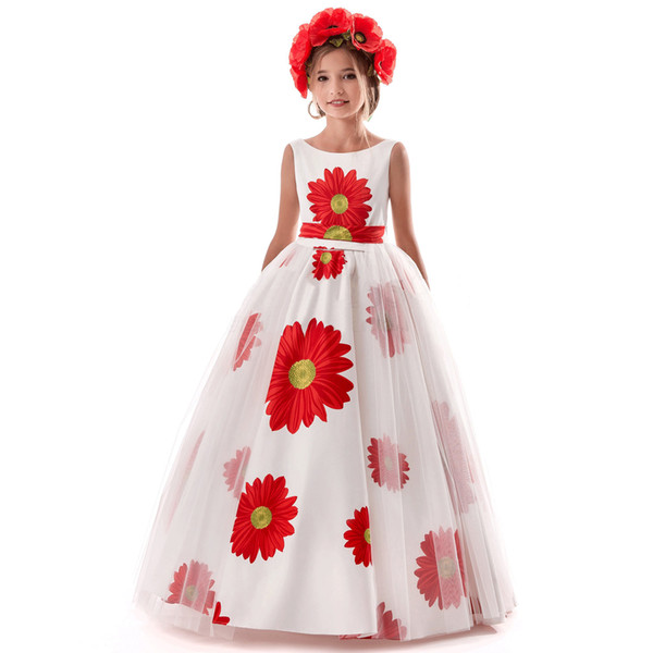 2019 New kids ball gowns Vintage Sunflower Printed Tulle Princess Dress Girls Sleeveless Party Formal Full Prom Pleated Dresses Design Cloth