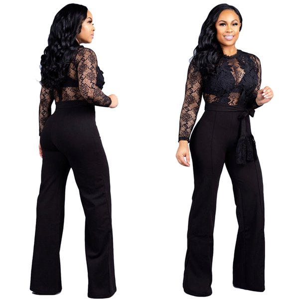 Sheer Lace Patchwork Women Loose Jumpsuit with Belt O Neck Long Sleeve Night Club Romper Wide Leg Pants Overall Playsuit