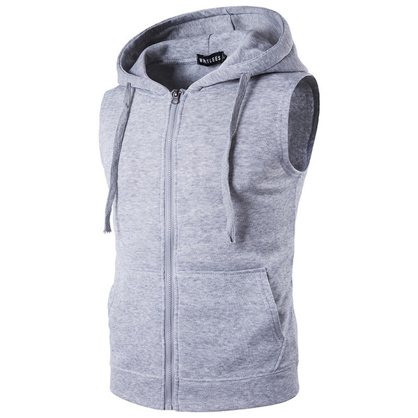 Vests Men Outside Jacket Sleeveless Jacket Vest Men Warm Solid Hooded Pocket Mens Gym Vest Casual Zipper Slim Streetwear
