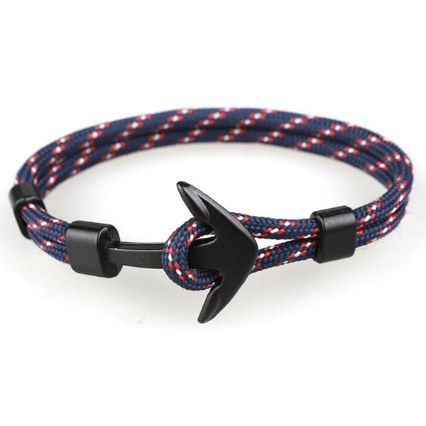 Sopravvivenza esterna braccialetto intrecciato Shark Tail Whale Anchor Bracciale per uomo Donna Fashion Nylon Corda Chain Paracord Bracciale polso maschile