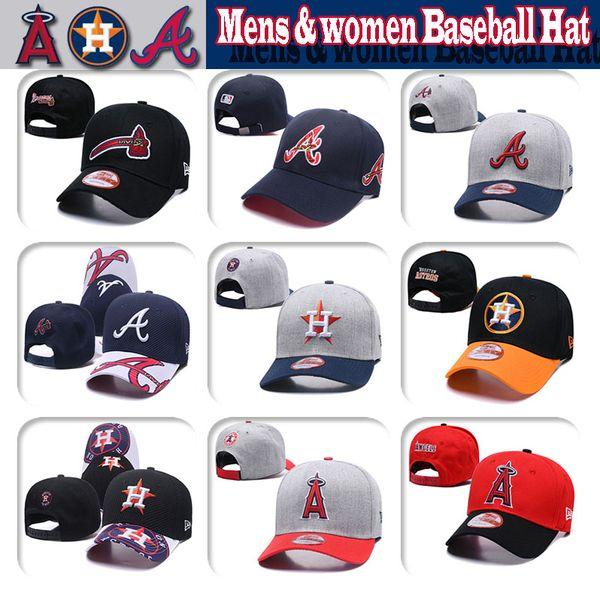 Mens donna Houston # Los Angeles # Atlanta Berretto da baseball in maglia di alta qualità Astros Angels Braves Baseball Hat