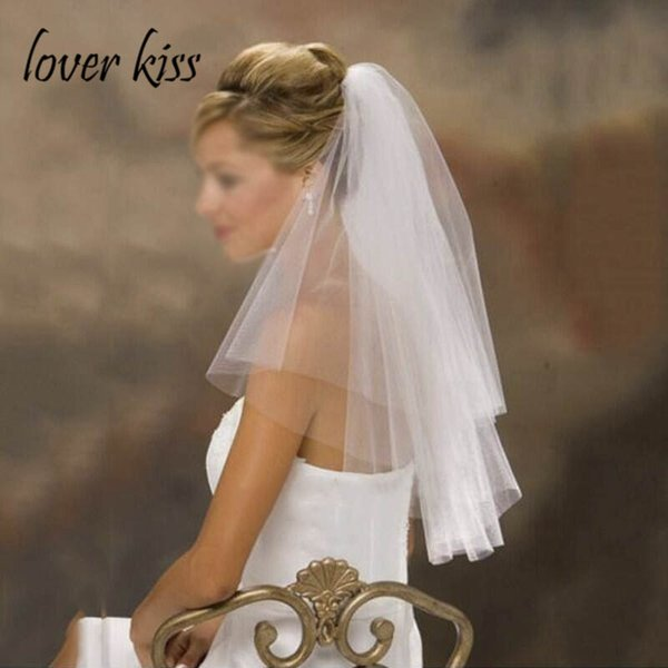 Lover Kiss Simple Tulle Short Wedding Veil Two Layers with Comb Cheap Accessories For Bridal White/ivory/Champagne Voile