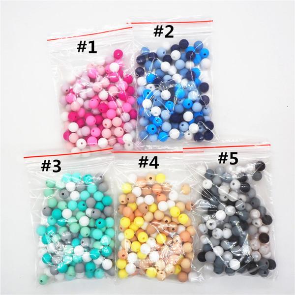 Chenkai 100pcs 9 mm 12 mm 15 mm silicone Teether perles bricolage bébé Sucette Dummy Bijoux Pendentif Sensory Toy Teething Perle Sans BPA CJ191115