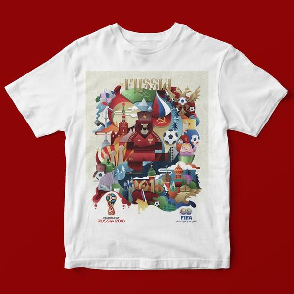 RÚSSIA 2018 T-SHIRT UNISEX 1195 Moda Impressão Novidade Solto de Alta Qualidade O-pescoço T-Shirt Frete Grátis
