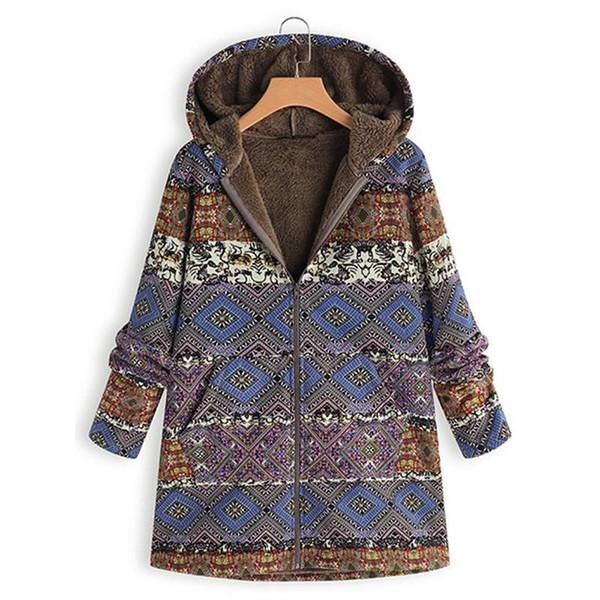 d3e303fd676 Women Hooded Ethnic Printed Faux Fur Coats Winter Warm Fleece Outwear Female  Boho Plush Fluffy Jackets