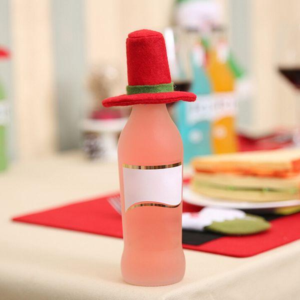 6pcs / lot bottiglia di vino rosso di Natale Panno Cappuccio ornamenti del regalo di natale Festival di vetro Cappello decorazione del partito evento Decori Table