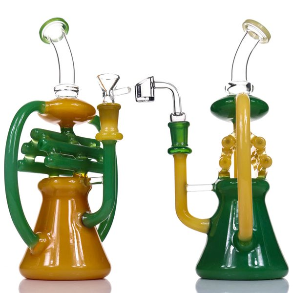 "Glass Bong Dab Rig NOTE Recycler Water Bongs Tall 10.5"" Inline Percolator Heady Glass Beaker Bong Color Recycler Oil Rigs Bubbler Pipe"