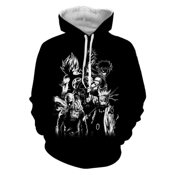 Dropshipping Anime Hoodies One Piece Naruto Bleach 3d Print Hoodies Sweatshirts Jacket Winter Warm Sweats Coats