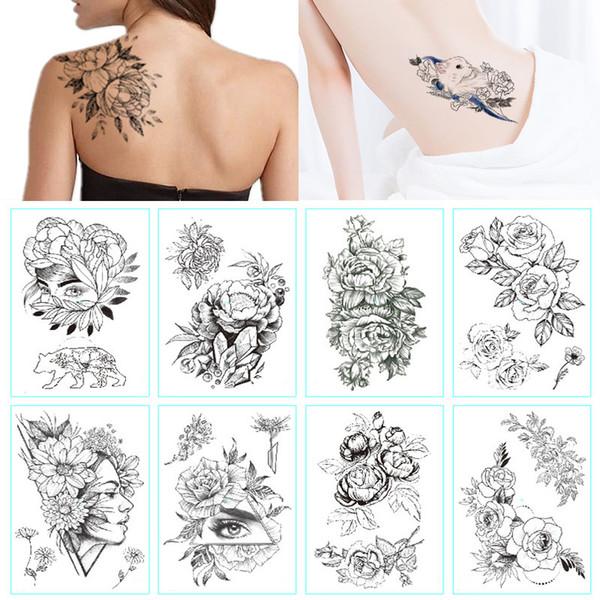 Acheter Mode Noir Blanc Fleur Autocollant De Tatouage Femmes Body Art Pivoine Rose étanche Transfert Deau Tatouage Temporaire De 3478 Du Ruhui