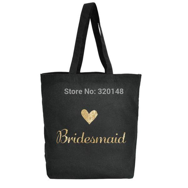 Bridesmaids tote bag Wedding Favor Bachelorette bridal shower party gift black shoulder bag canvas cotton gold glitter TB1